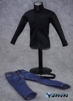"1/6 scale custom Black shirt Jeans Belt set fit 12"" Apple CEO Steve Jobs figure"