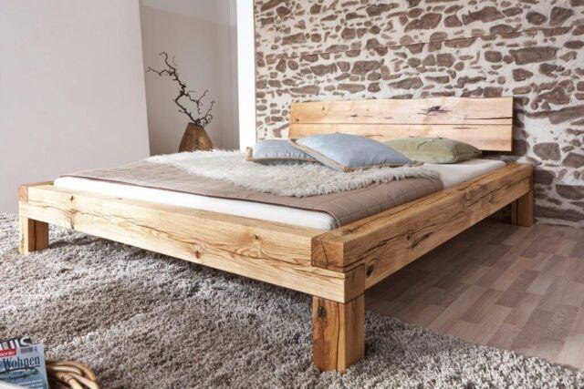 Bett Doppelbett Balkenbett Wildeiche Massiv Schlafzimmer Balken