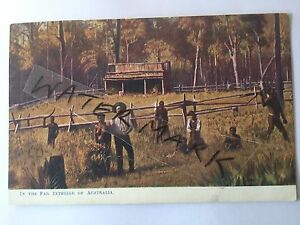 ANTIQUE-VINTAGE-OLD-POSTCARD-ABORIGINALS-SETTLERS-BUSH-HUT-INTERIOR-AUSTRALIA