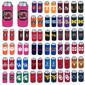 NCAA-Teams-2-Pack-Ultra-Slim-Can-Holder-Skinny-Koozie-Beverage-Insulator