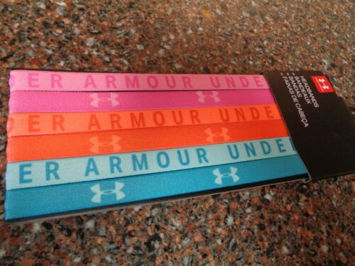Details about  /Under Armour Women/'s Headband Set of 6 Bright Colors Non Slip Elastic Brand New