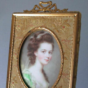 Antique FRENCH Gilt Ormolu + SILK Brocade Frame BOW Top Miniature Portrait LADY