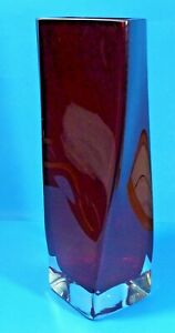 "KROSNO SQUARE TWIST SWIRL VASE HEAVY RUBY RED COLOUR POLISH GLASS 11.75"" TALL"