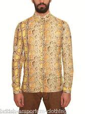 BNWT GALLIANO Yellow Python Printed L/S Cotton Poplin Shirt Ita48/Uk38/MEDIUM