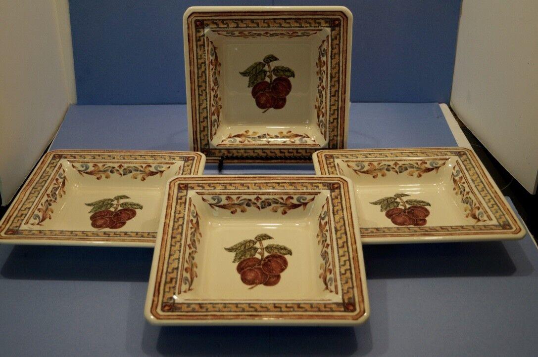 Set 4 WILLIAMS SONOMA  Verger  style toscan Italie Carré Bols Cherry Harvest