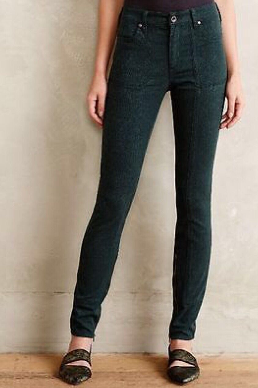 NWT NEW Anthropologie  Pilcro Jacquard Utility Jeans Pants  Forest Green 25