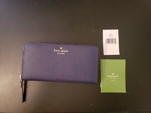 Pre-Owned Kate Spade Lacey Mikas Pond Zip Around Wallet Clutch in Indigo