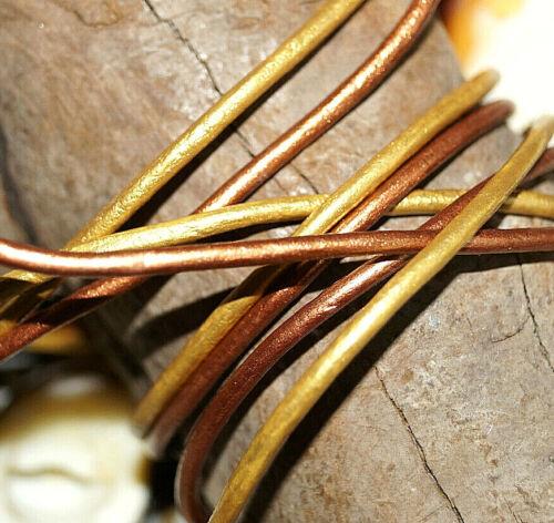 Bronze Leder Öko Lederriemen Band 1 m Lederband Riemen Rund 2 mm Gold Kupfer