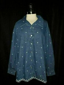 DENIM-amp-CO-Plus-Size-2X-Denim-Shirt-Blouse-Blue-White-Embroidered-Flowers