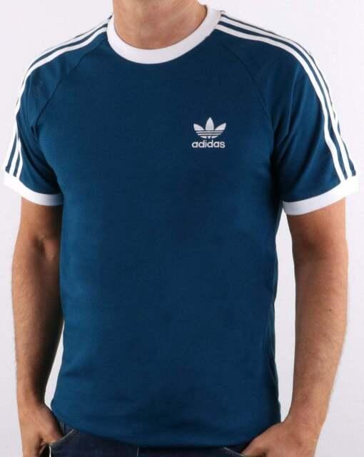 adidas originals retro 3 stripes t shirt blue yellow