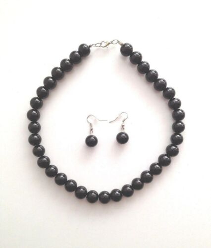 New Round Bead Necklace /& Earrings Fashion Jewelry Set