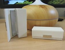 Clinique White Silvertone Logo Faux Leather Pebbled Lipstick Holder with Mirror