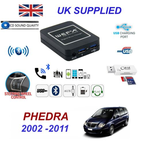 For Lancia Phedra Bluetooth Telephone Streaming AUX Input 2 x USB SD Card Reader