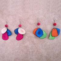 Two Pair 2 Tagua Acai Beads Earrings Amazon Tri Color Jungle Jewelry Peru Art