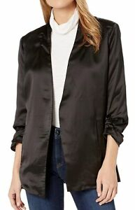 Bishop + Young Women's Jacket Black Size Medium M Satin Open Front $120 #006