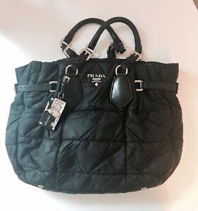 4333915d98c9d Das Bild wird geladen Originale-Prada-Tasche-Shopper-Handtasche -Stoff-Leder-bag-