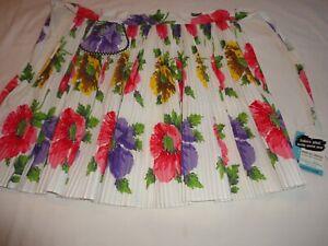 Vintage-1950-039-s-Half-Apron-Bright-Floral-Print-Accordion-Pleated-New-w-Tag