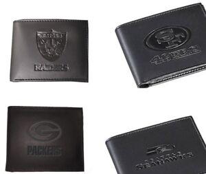 NFL-Black-Leather-Bi-Fold-Wallet-Pick-your-Team