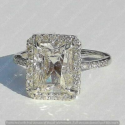 3.50 Ct Radiant Cut Diamond Halo Engagement Wedding Ring  14K White Gold Finish