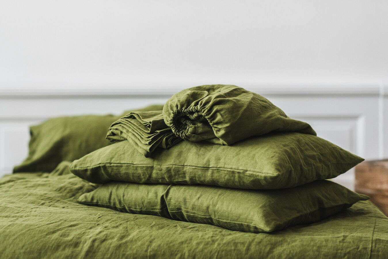 Grün moss Pure Natural Stone Washed Linen Fitted Sheet
