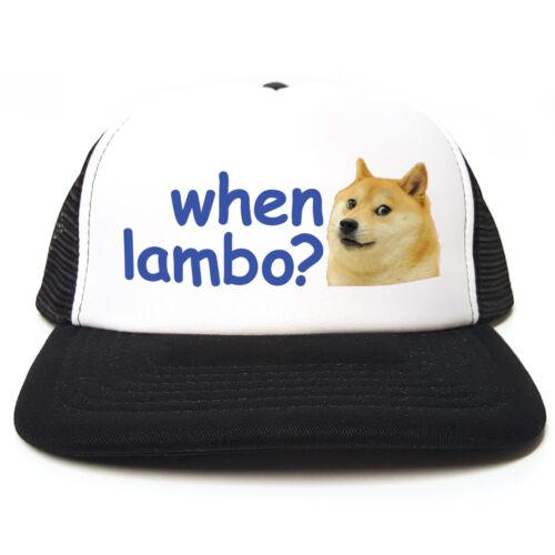 Funny DOGE Dogecoin Crypto Meme Bitcoin Trucker Hat When Lambo