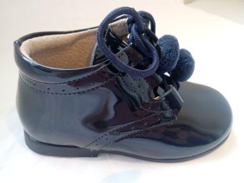 Cuir Verni Filles Garçons espagnol Bébé Chaussures Enfants Pompon Rose Bleu Marine Beige Siz 4-8