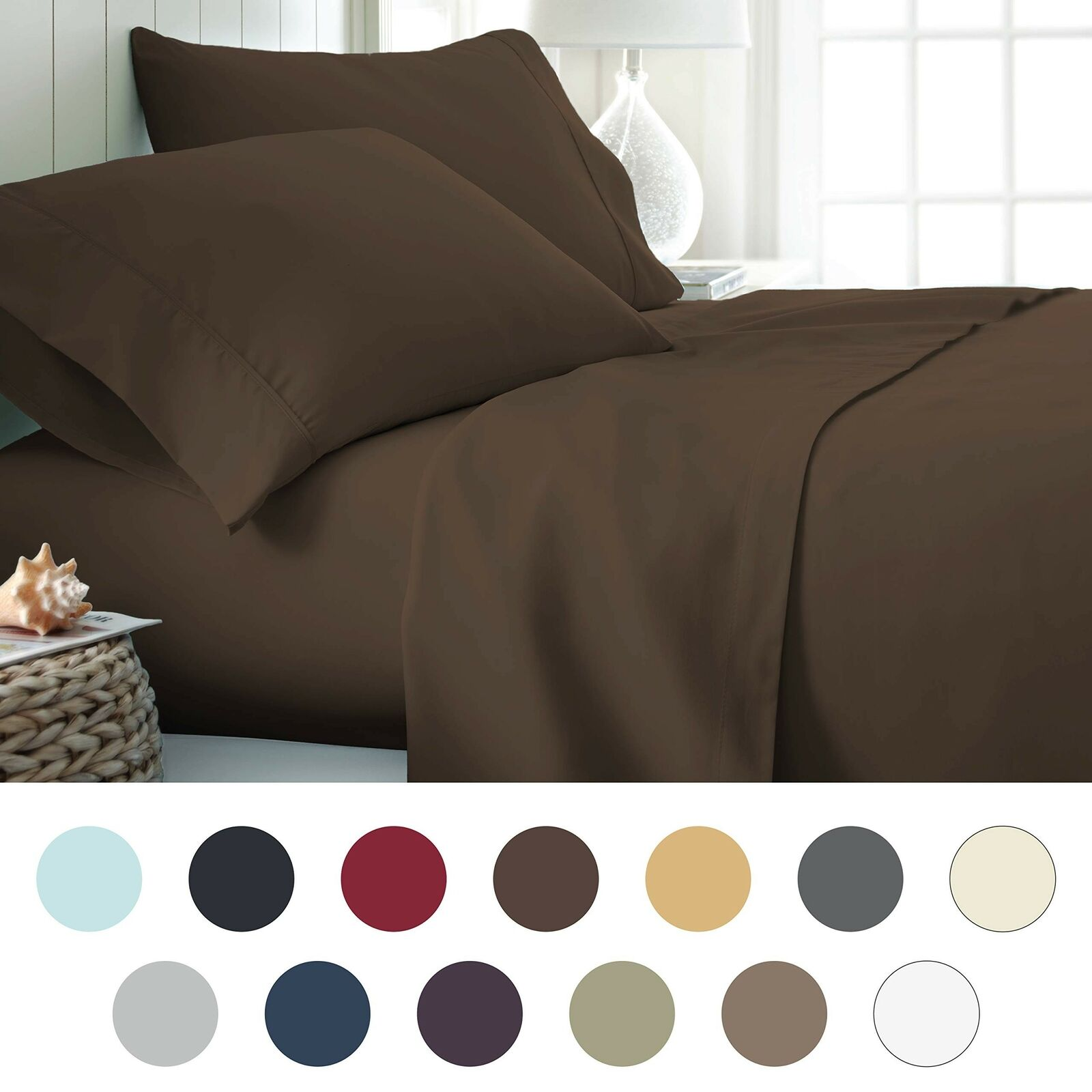 Ienjoy Home Hotel Collection Luxury Soft Brushed Bed Sheet Set, Hypoallergeni...