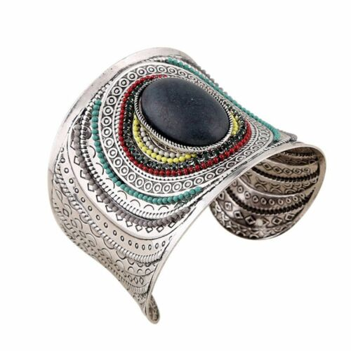 Alliage Ethnique Manchette Large Boho Fashion Gem Turquoise Femmes Bangle Bracelets