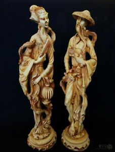 """VTG Male & Female Oriental Asian Resin Figures 19"""" Tall 