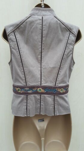 eu ricamato rivestimento Karen con denim 10 Millen casual Uk marrone in Gilet 38 qAwTxH7nBA