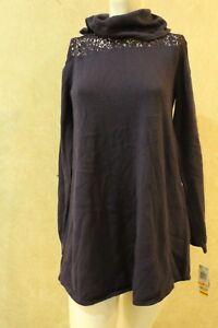 914af6b13e5 Style Co Petite Cowl-Neck Lace Sweater Dark Grape PS R5F1 ...