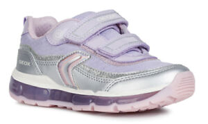 1056c49035e5 Geox J Android G A Girls Silver/Lilac Light Up Trainers - 100 ...