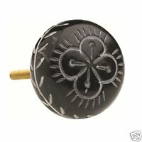 Set Of 4 Lisbeth Dahl Acrylic Bone Decorative Knobs - Brown With Floral Pattern