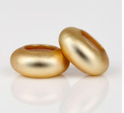 2 PIECES MATT GOLD PLATED RUBBER STOPPER CHARM BEAD FOR BRACELET