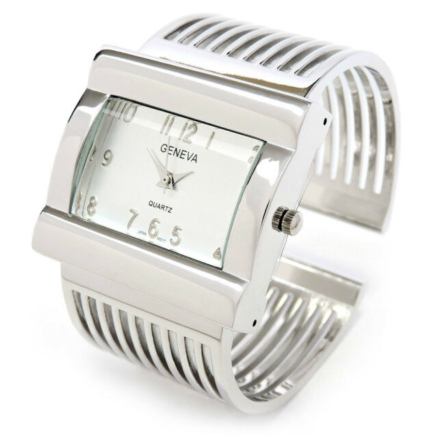 Geneva Silver Metal Grill Band Large Face Women's Wide Bangle Cuff Watch
