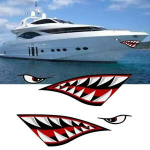 Alemon Shark teeth Mouth Reflective Decals Sticker Canoe Car Sell Fishing S3T1