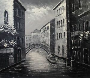 Quality-Hand-Painted-Oil-Painting-Venice-Waterway-Black-White-20x24in