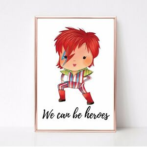 david bowie print we can be heroes a4 wall art picture gift 9 unframed