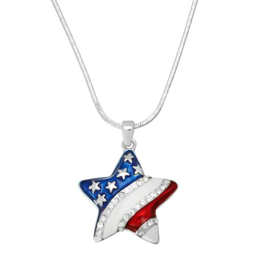 """17/"""" Chain Sparkling Crystal American Star Charm Pendant Fashionable Necklace"""