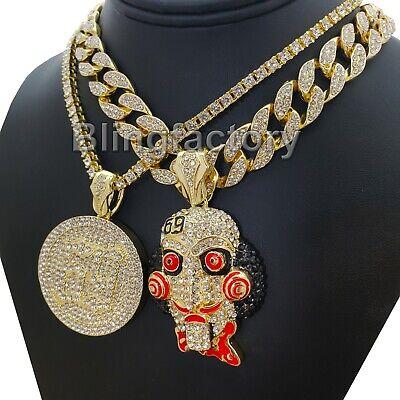 "Hip Hop Tekashi69 Saw pendant /& 18/"" Full Iced out Cuban Choker Chain Necklace"