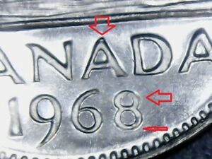 ERROR-VARIETY-Canada-5-Cents-1968-Re-Engraved-8-amp-A-UNCIRCULATED