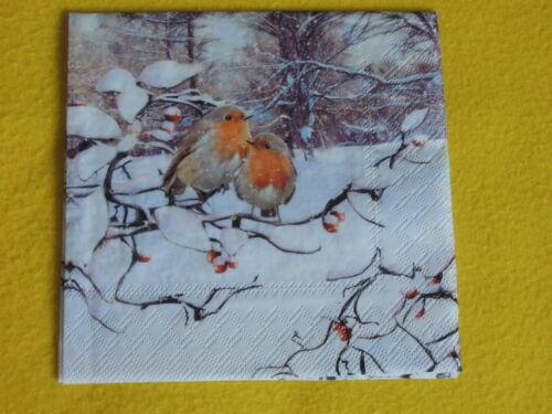 5 Serviettes Rouge-gorges Paire Hiver Serviettes technique 1//4 Oiseaux Oiseau Branches int