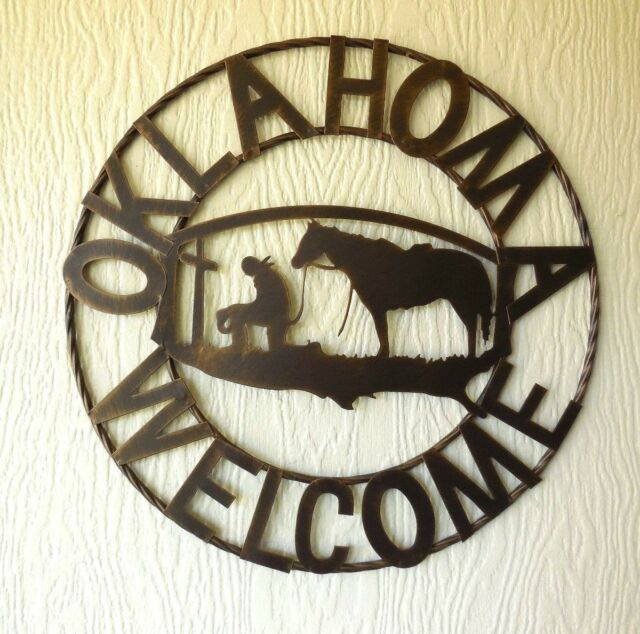 18  OKLAHOMA WELCOME PRAYING COWBOY METAL WALL ART WESTERN HOME DECOR BRONZE NEW & 18