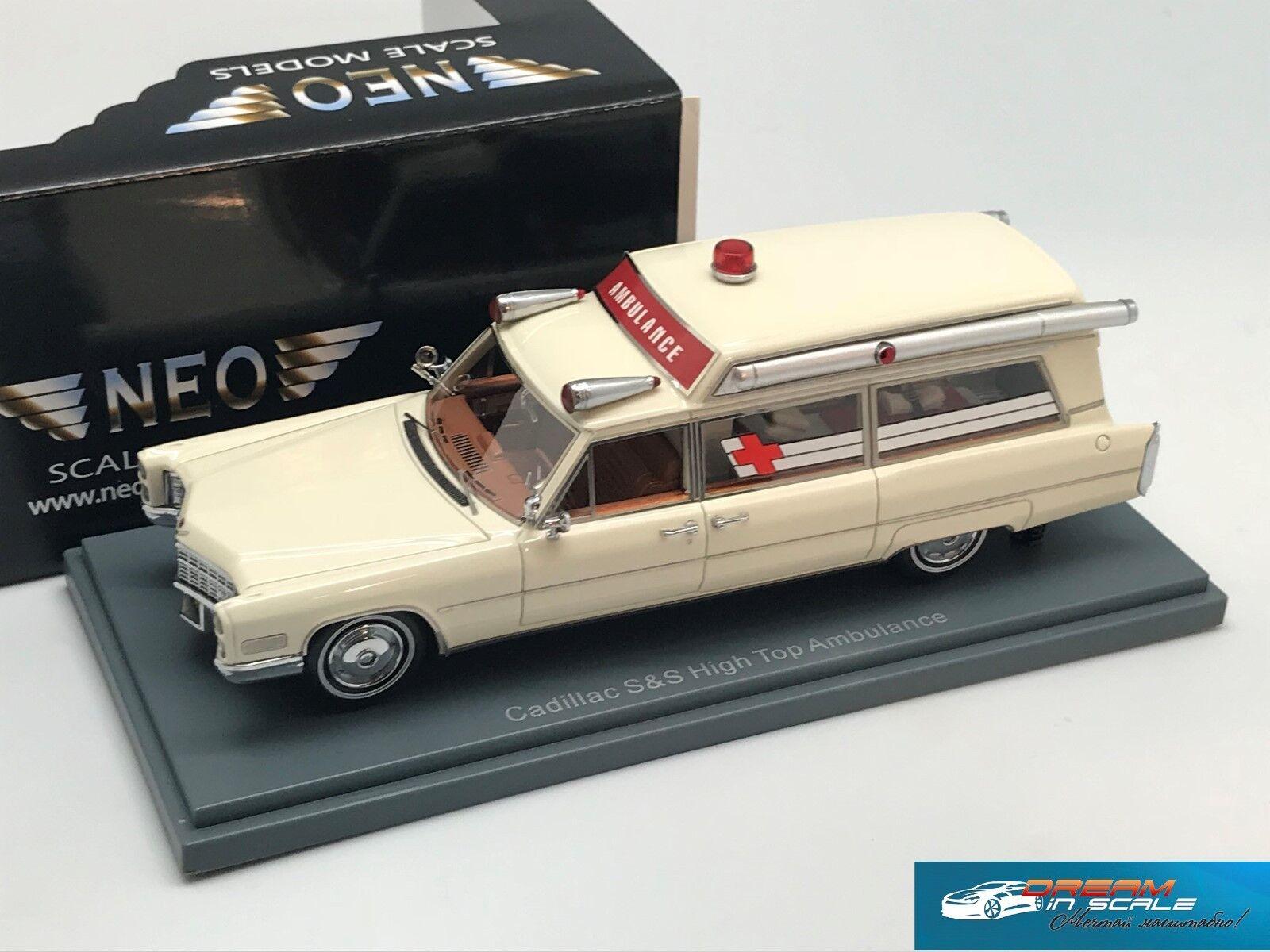 RARE  Cadillac S&S Ambulance Weiß 1966 NEO43895 1 43