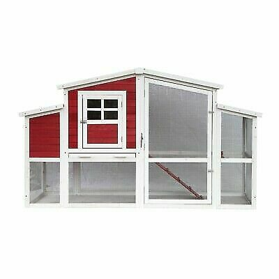 Aleko Multi Level Barn Style Chicken Coop Rabbit Hutch With Divided Nesting Area For Sale Online Ebay
