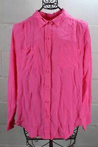 J-CREW-Neon-Azalea-Pink-Silk-Classic-Front-Pockets-Button-Down-Shirt-14-NWT