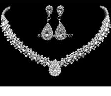 Romantic Leaf Crystal Diamante Water drop Necklace Earring Bridal/Party Set Gift