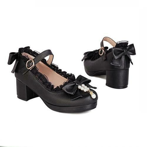 Details about  /Women Lolita Bowknot Cosplay Buckle Strap Thick Heel Mary Janes Shoes Cosplay D