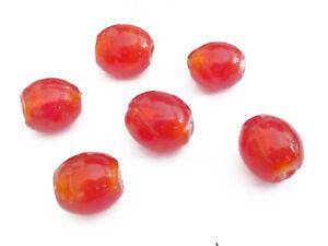 10 GLASPERLEN OLIVEN 13-15mm orange mit Silberfolie nenad-design Perlen AN098