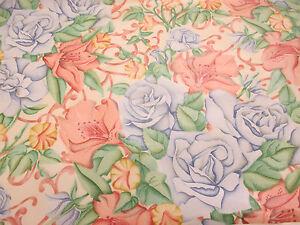 Vintage-Rosa-Y-Azul-Rosas-Helens-vid-Estampado-100-Algodon-Tela-De-Cortina